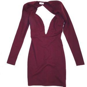 Dress | Maroon Deep V Keyhole Longsleeve Bodycon